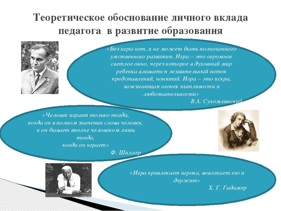 Теоретическое обоснование личного вклада педагога в развитие образования «Без...