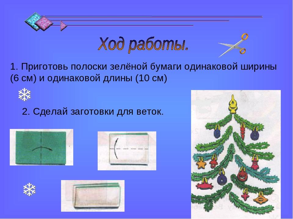 1. Приготовь полоски зелёной бумаги одинаковой ширины (6 см) и одинаковой дли...