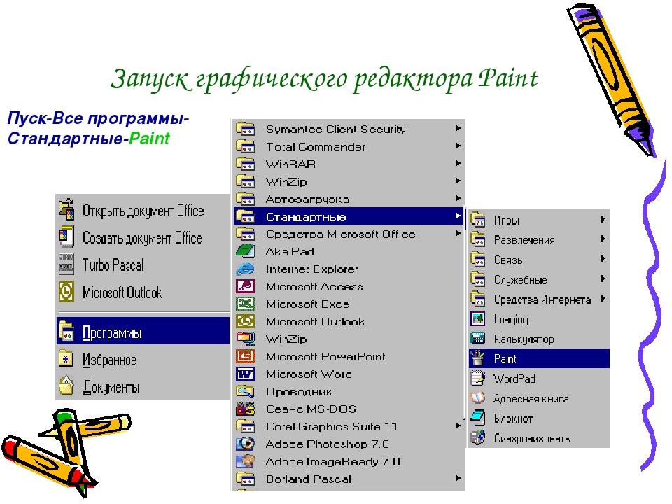 Запуск графического редактора Paint Пуск-Все программы-Стандартные-Paint