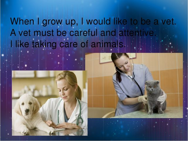 When I grow up, I would like to be a vet. A vet must be careful and attentiv...
