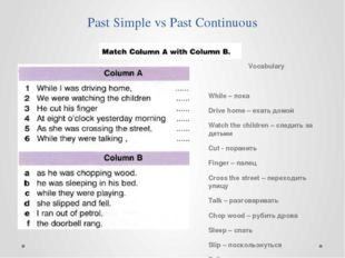 Past Simple vs Past Continuous Vocabulary While – пока Drive home – ехать дом