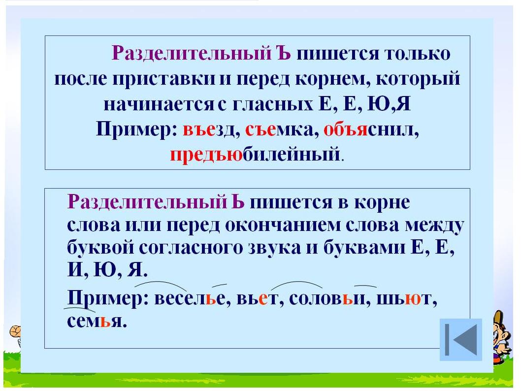 примеры ь ъзнаком с слова и