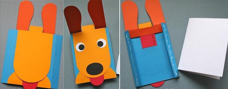 Как сделать забавную открытку щенка, поделка мая своими