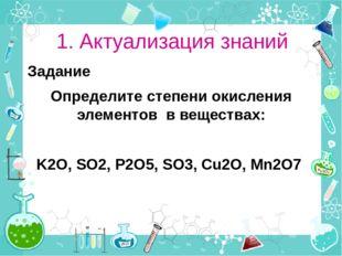 1. Актуализация знаний Задание Определите степени окисления элементов в вещес