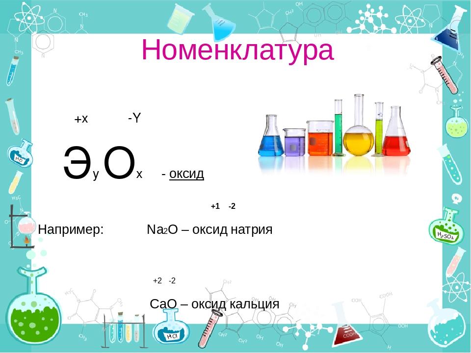 Номенклатура +х -Y Эy Oх - оксид +1 -2 Например: Na2O – оксид натрия +2 -2 Са...