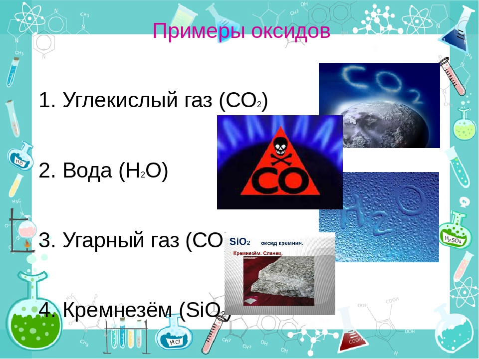 Примеры оксидов 1. Углекислый газ (СО2) 2. Вода (Н2О) 3. Угарный газ (СО) 4....