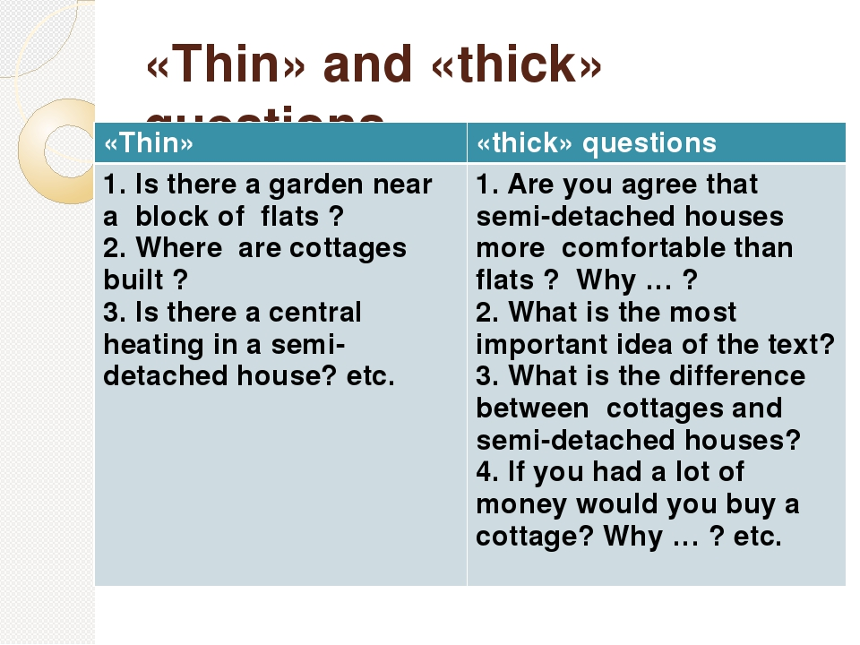 «Thin» and «thick» questions «Thin» «thick»questions 1. Is there a garden nea...