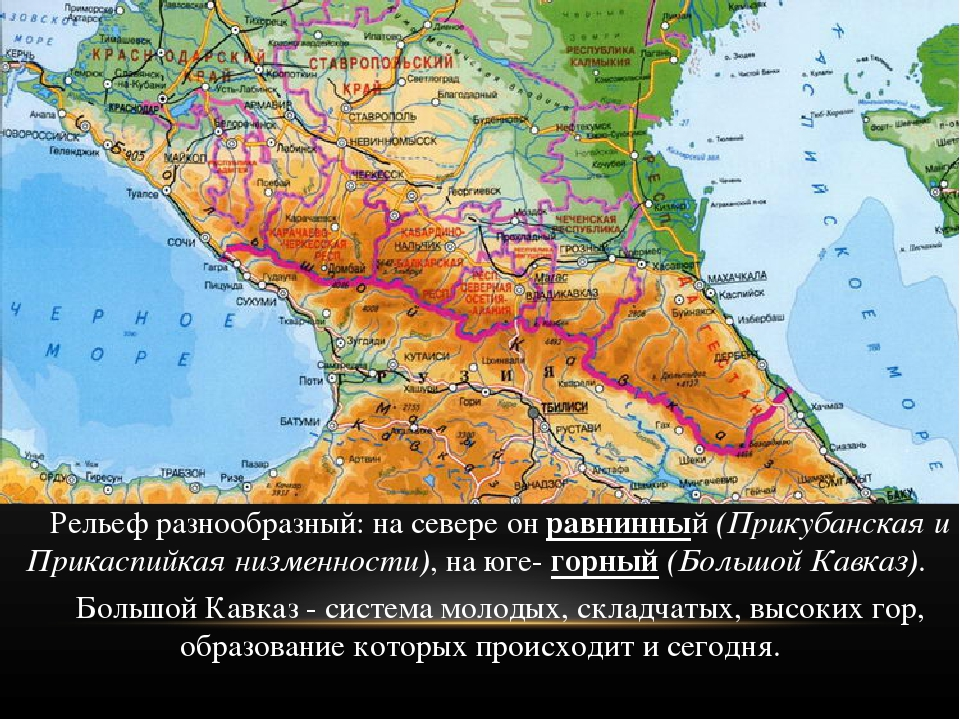 Рельеф разнообразный: на севере он равнинный (Прикубанская и Прикаспийкая ни...
