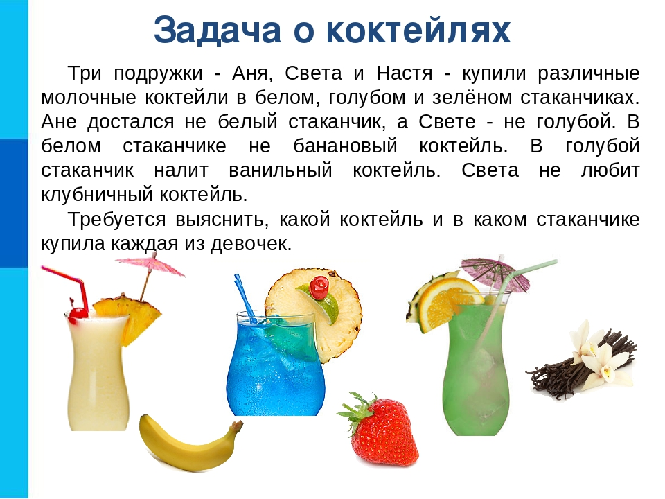 Задача о коктейлях Три подружки - Аня, Света и Настя - купили различные молоч...