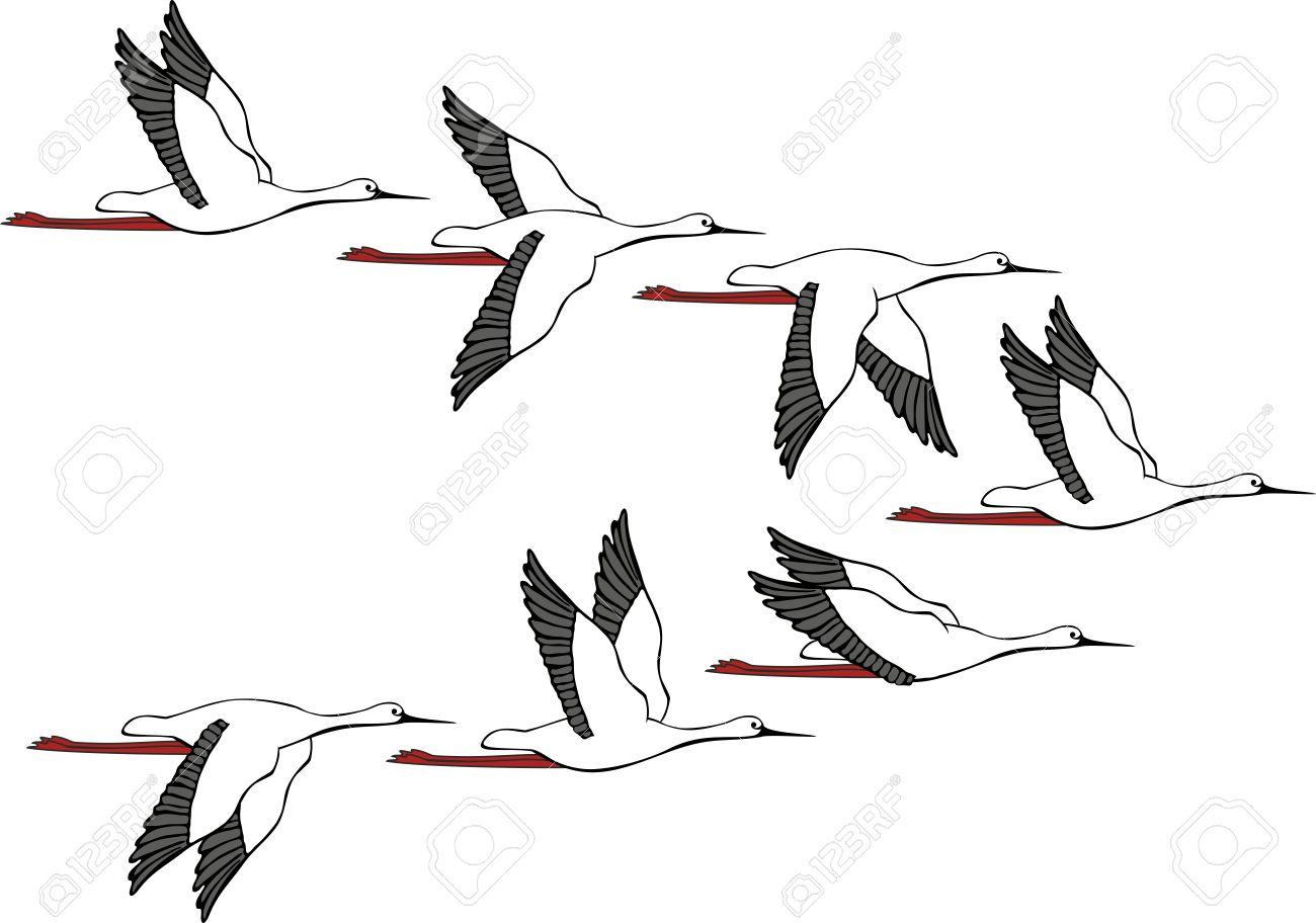 Шаблон журавлей для вырезания из бумаги