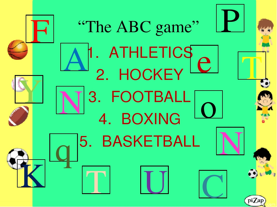"""The ABC game"" ATHLETICS HOCKEY FOOTBALL BOXING BASKETBALL F T P K C T Y U N..."