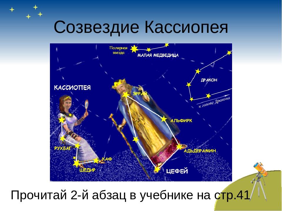 Созвездие Кассиопея Прочитай 2-й абзац в учебнике на стр.41