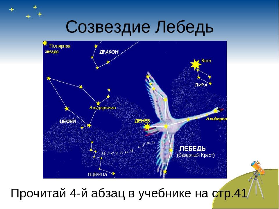 Созвездие Лебедь Прочитай 4-й абзац в учебнике на стр.41