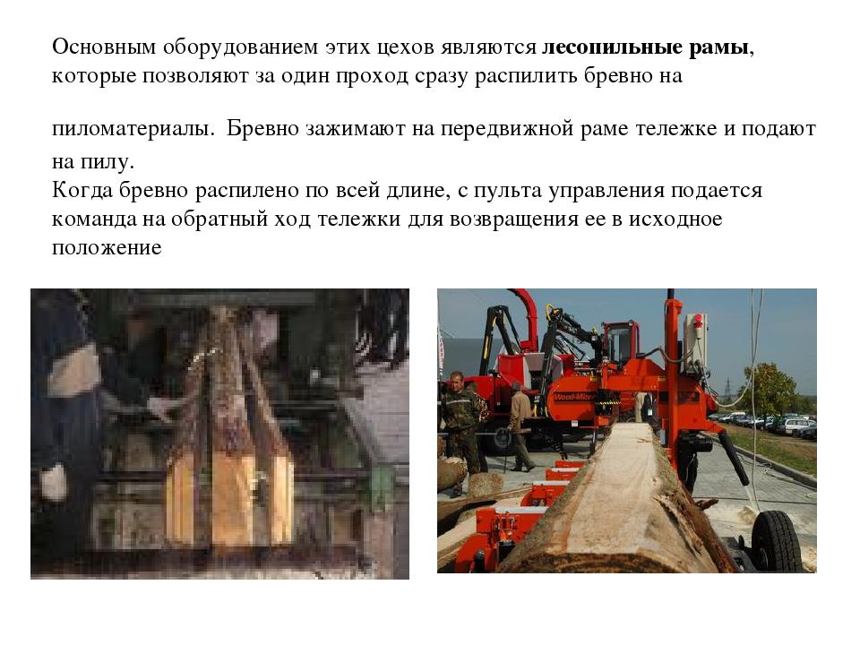 Основным оборудованием этих цехов являются лесопильные рамы, которые позволяю...