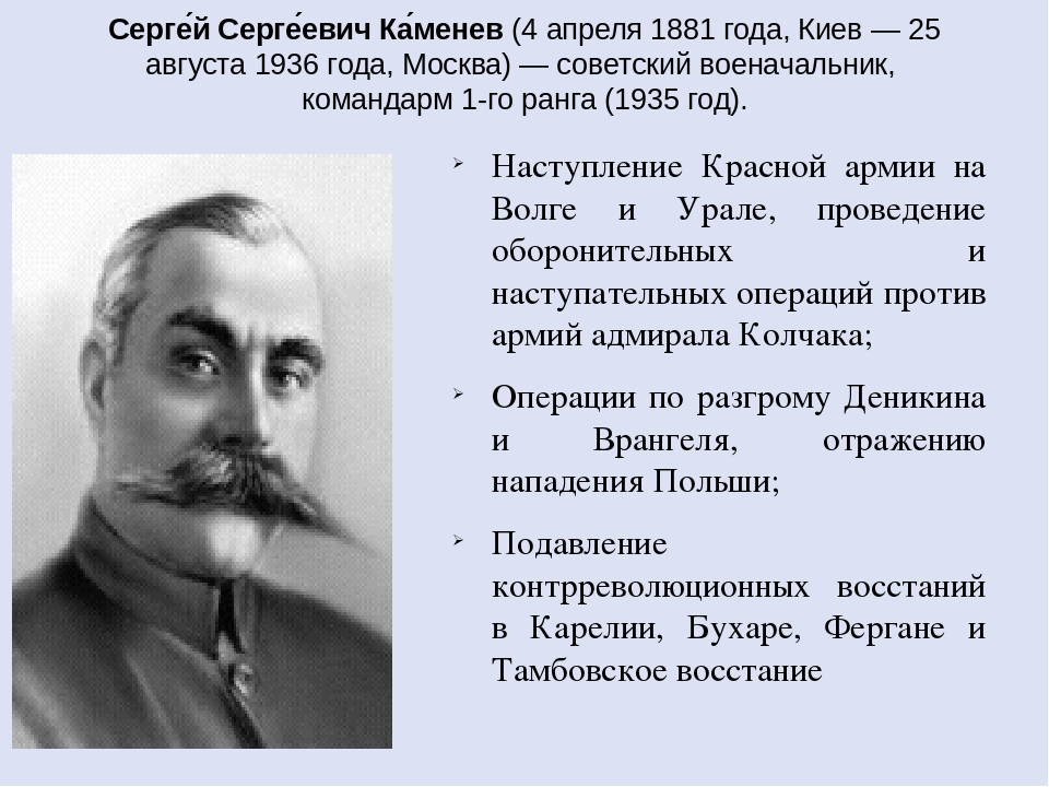 Серге́й Серге́евич Ка́менев(4 апреля 1881 года,Киев— 25 августа 1936 года,...