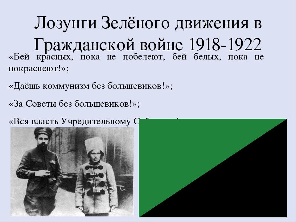 Лозунги Зелёного движения в Гражданской войне 1918-1922 «Бей красных, пока не...