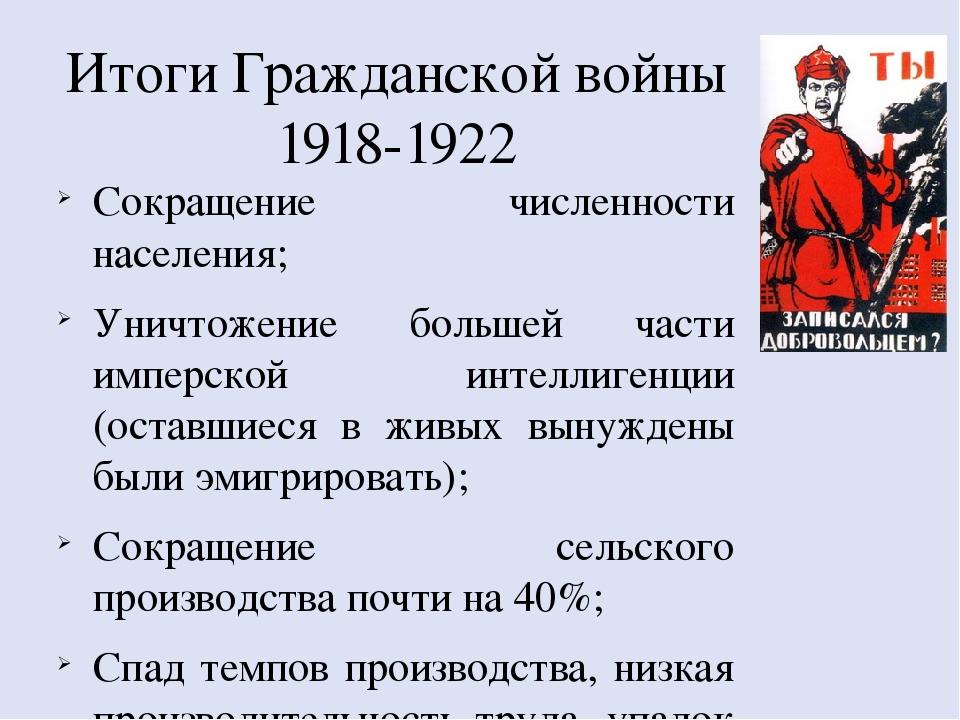 гражданская война 1918 по 1920 кратко порядку