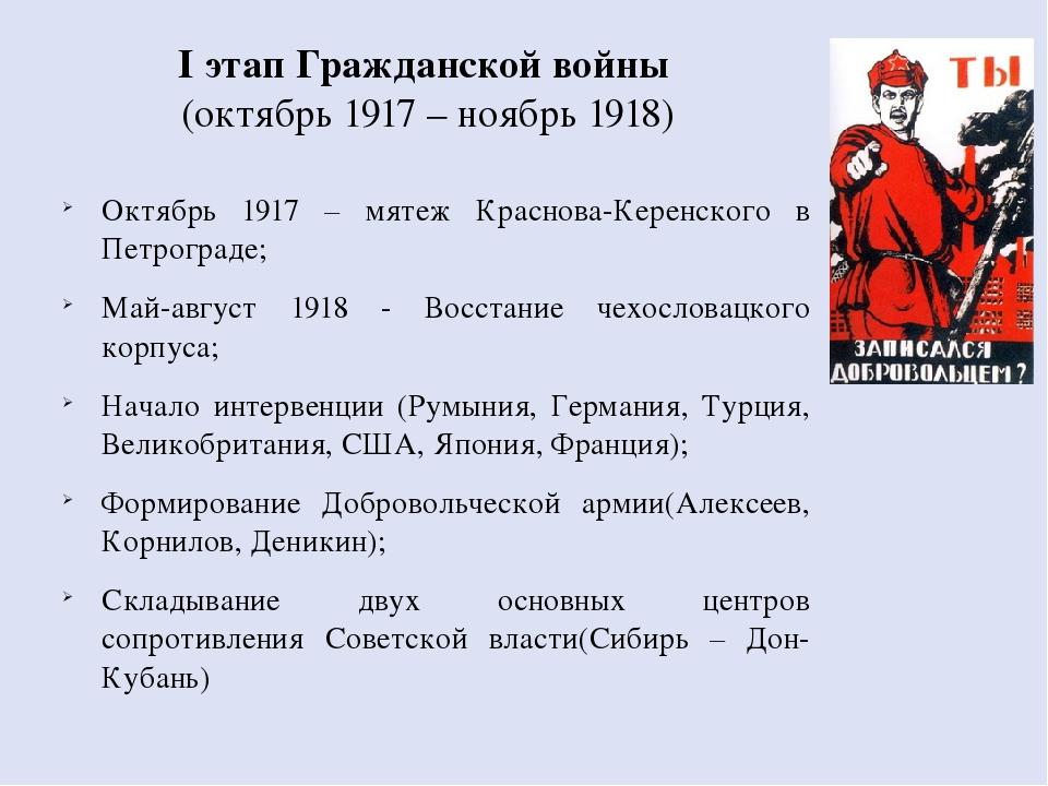 I этап Гражданской войны (октябрь 1917 – ноябрь 1918) Октябрь 1917 – мятеж Кр...