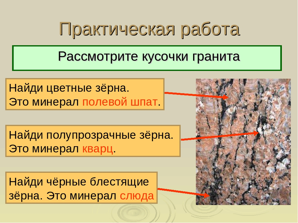Практическая работа Рассмотрите кусочки гранита Найди цветные зёрна. Это мине...