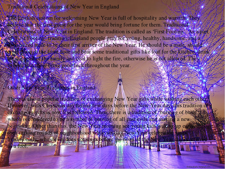 Traditional Celebrations of New Year in England  Traditional Celebrations of...