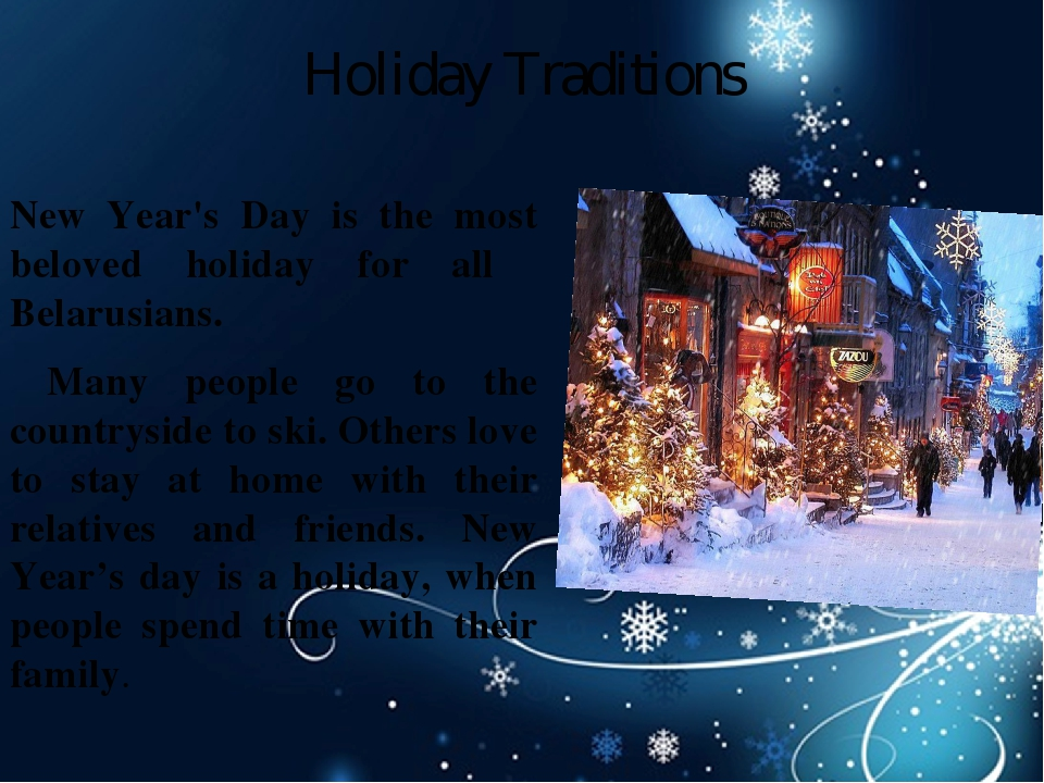 Holiday Traditions New Year's Day is the most beloved holiday for all  Belar...