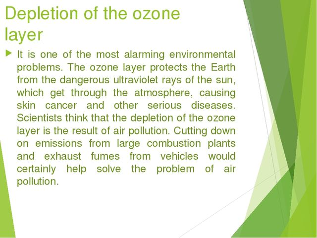 the dangers of the depletion of the ozone layer