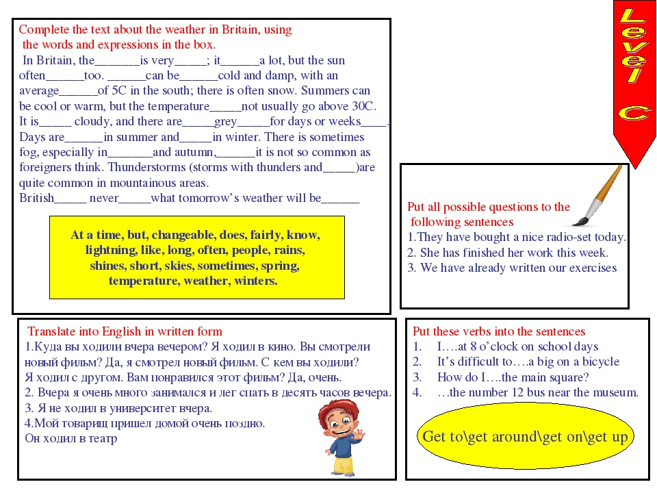 Complete the text about the weather in Britain, using the words and expressio...
