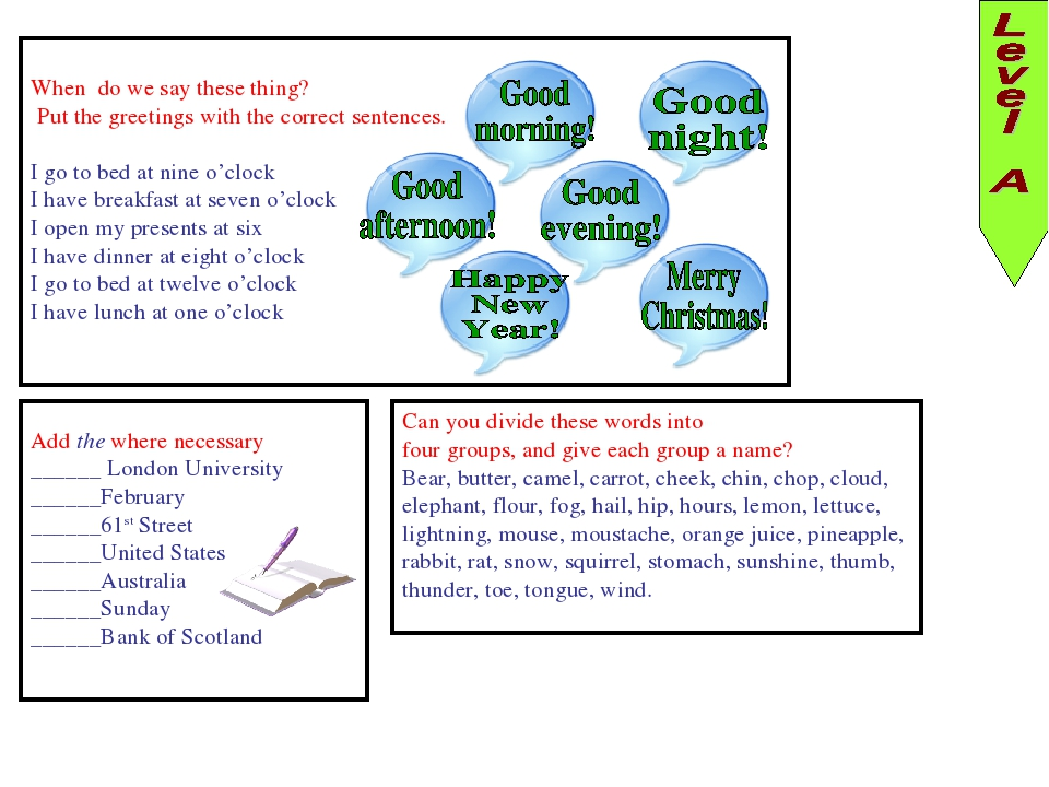 When do we say these thing? Put the greetings with the correct sentences. I g...