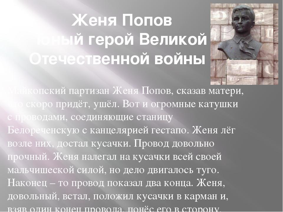 Женя Попов юный герой Великой Отечественной войны Майкопский партизан Женя По...