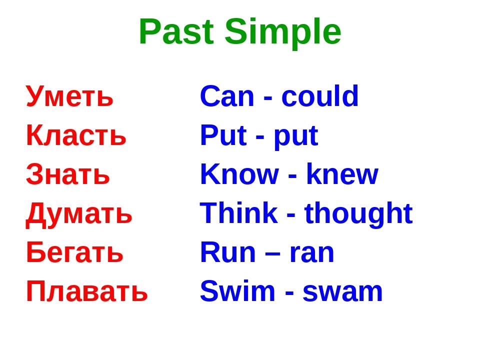 Past Simple Уметь Класть Знать Думать Бегать Плавать Can - could Put - put Kn...
