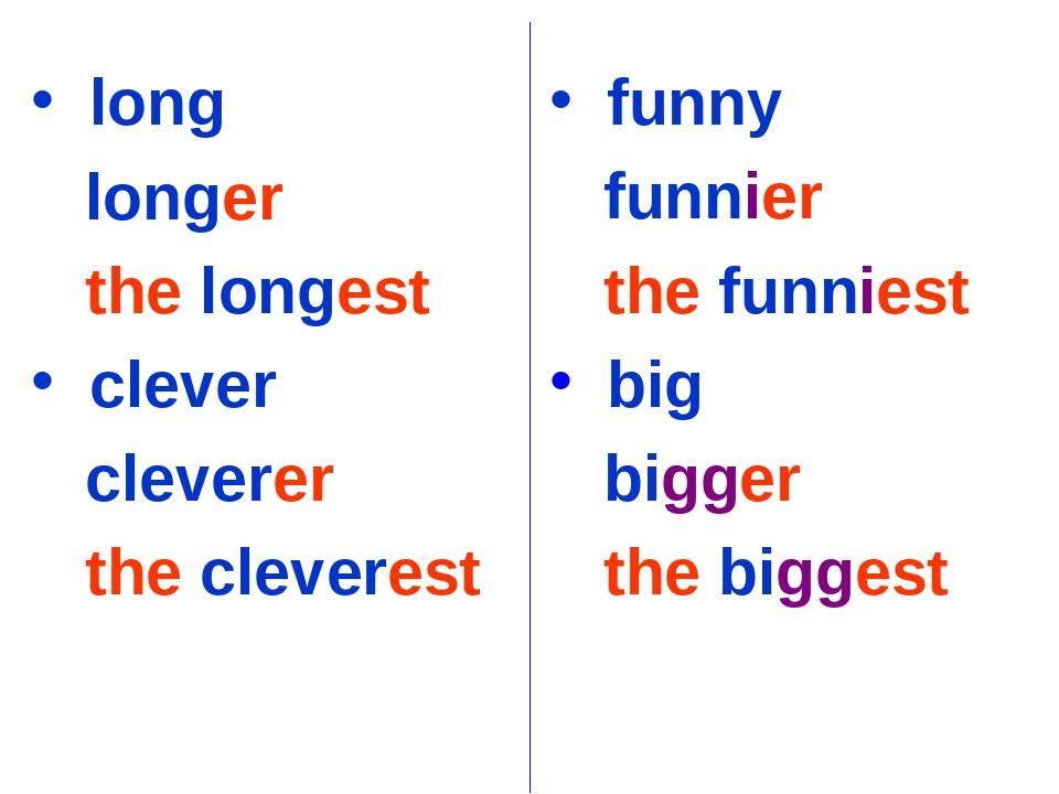 long longer the longest clever cleverer the cleverest funny funnier the funn...