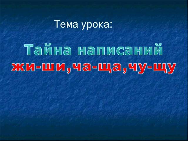 Урок русского языка 2 класс пнш тайна написаний жи-ши ча-ща чу-щу