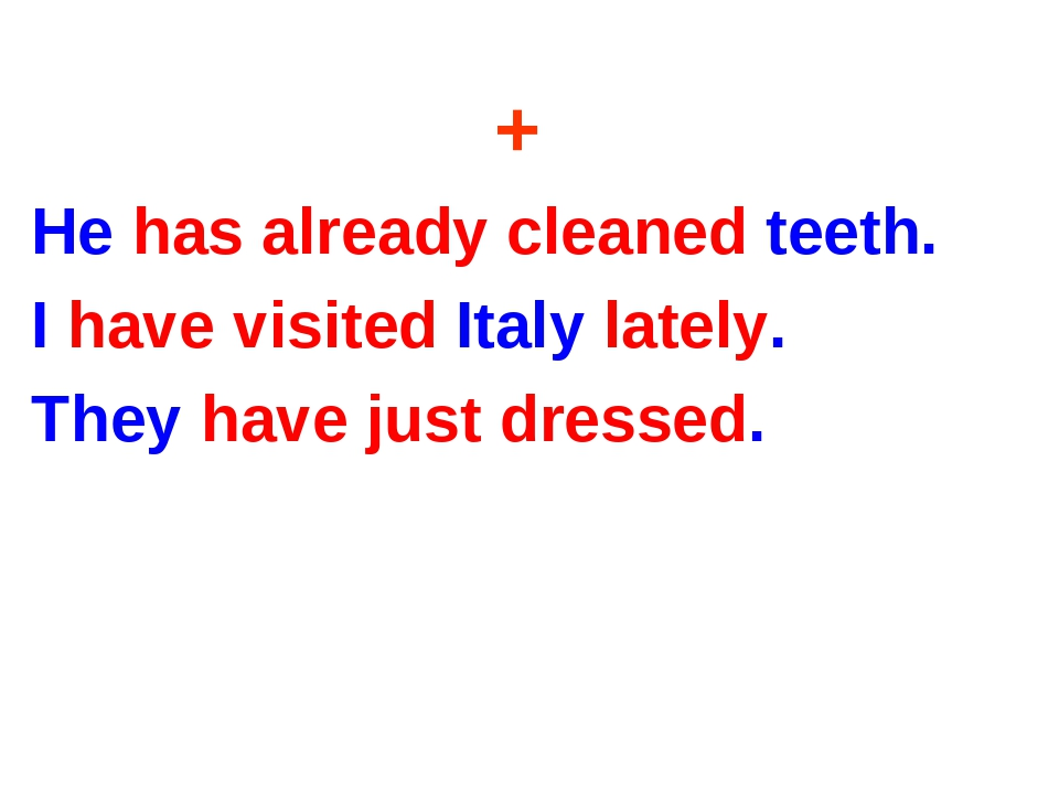 + He has already cleaned teeth. I have visited Italy lately. They have just d...