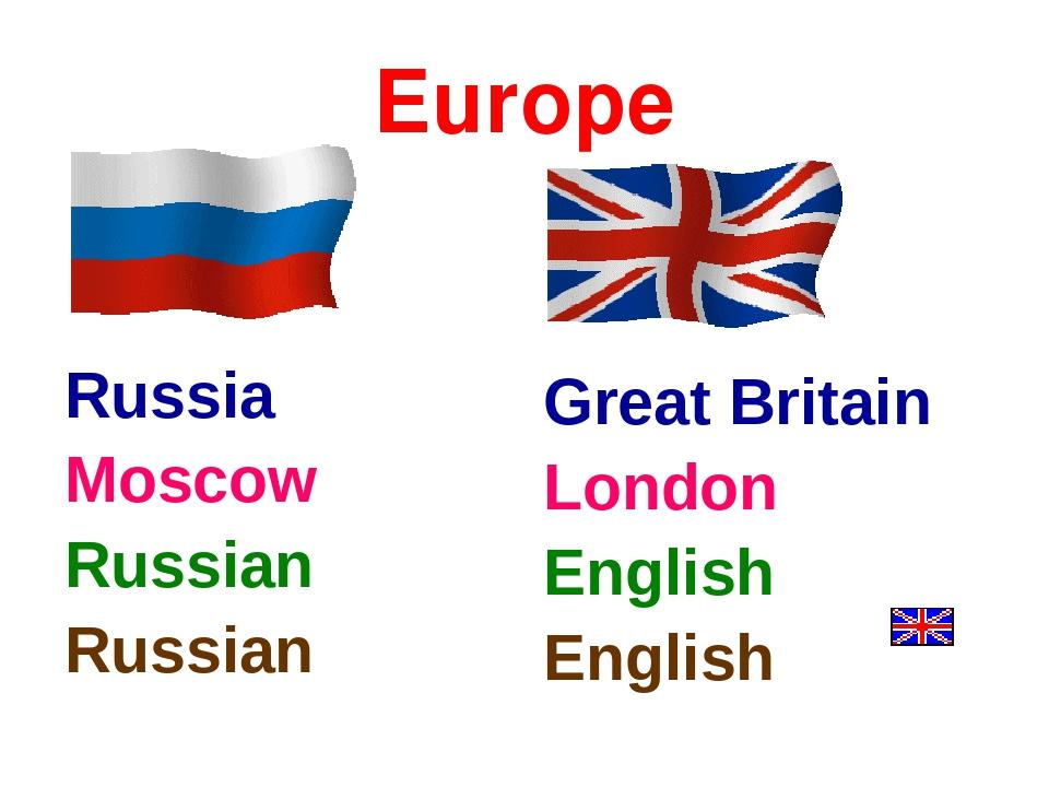 Europe Russia Moscow Russian Russian Great Britain London English English