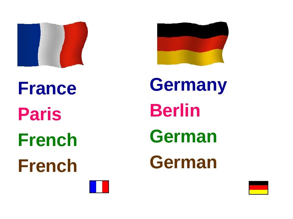 France Paris French French Germany Berlin German German