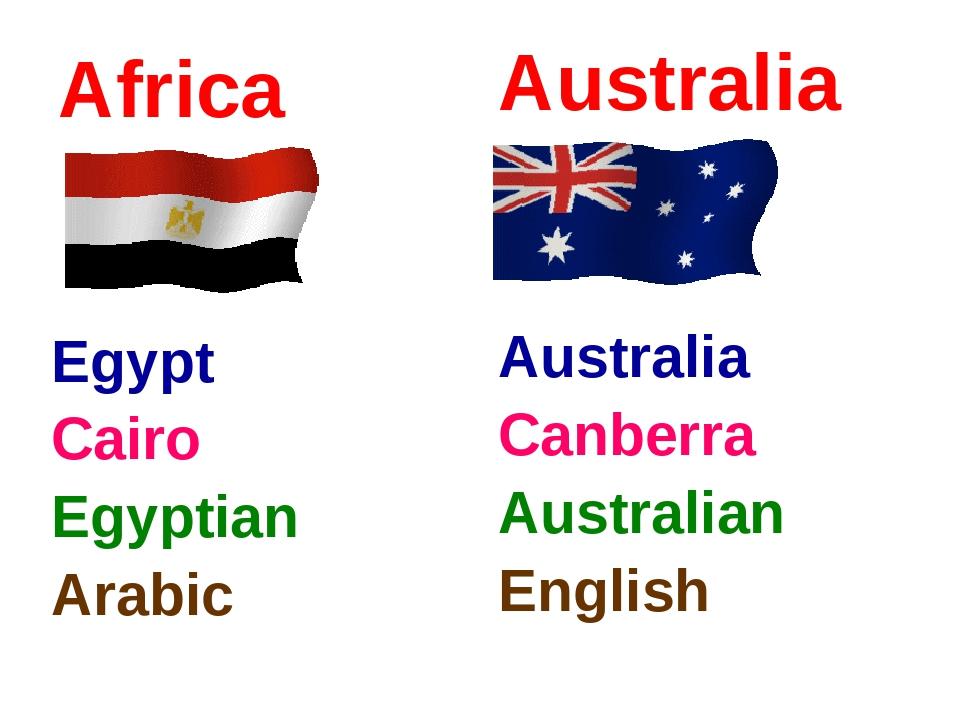 Africa Egypt Cairo Egyptian Arabic Australia Australia Canberra Australian En...