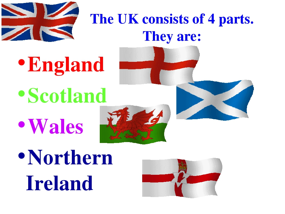 The UK consists of 4 parts. They are: England Scotland Wales Northern Ireland