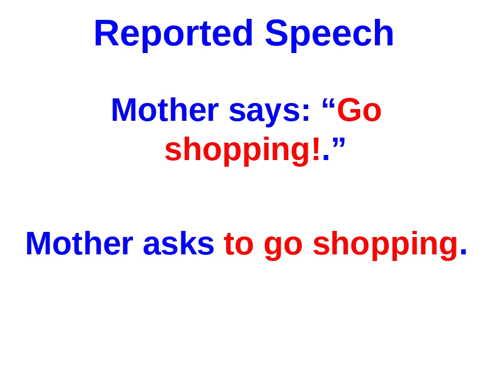 """Reported Speech Mother says: """"Go shopping!."""" Mother asks to go shopping."""