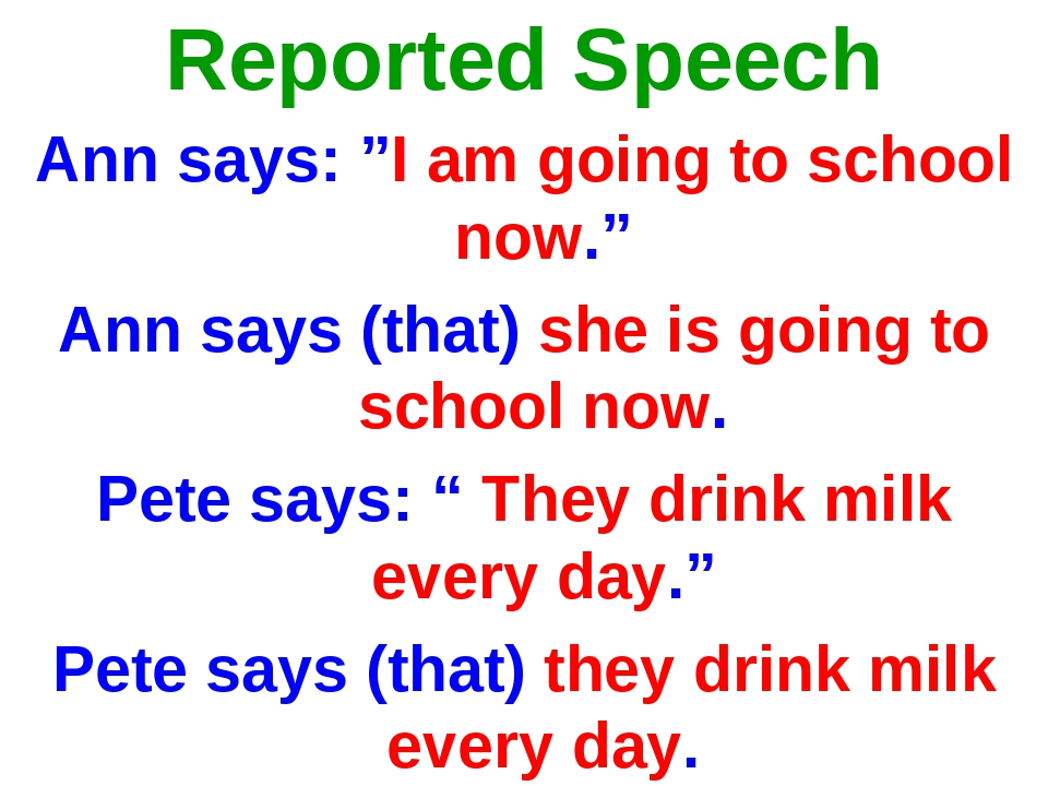 """Reported Speech Ann says: """"I am going to school now."""" Ann says (that) she is..."""