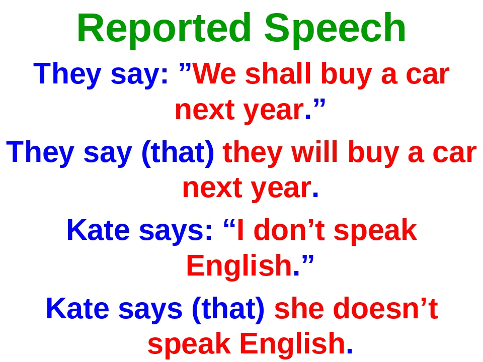 """Reported Speech They say: """"We shall buy a car next year."""" They say (that) the..."""