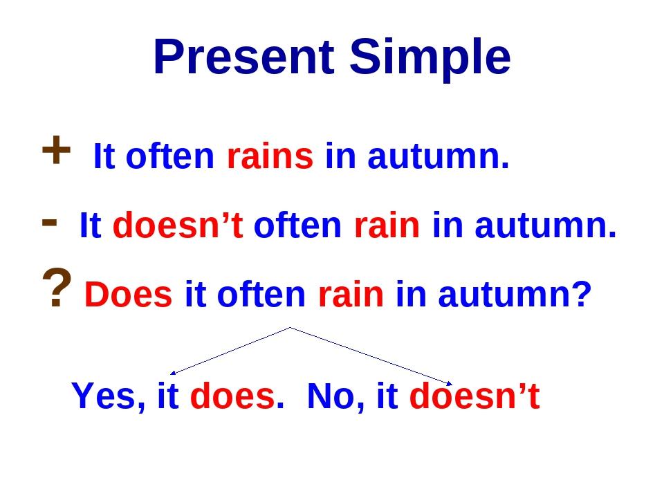 Present Simple + It often rains in autumn. - It doesn't often rain in autumn....