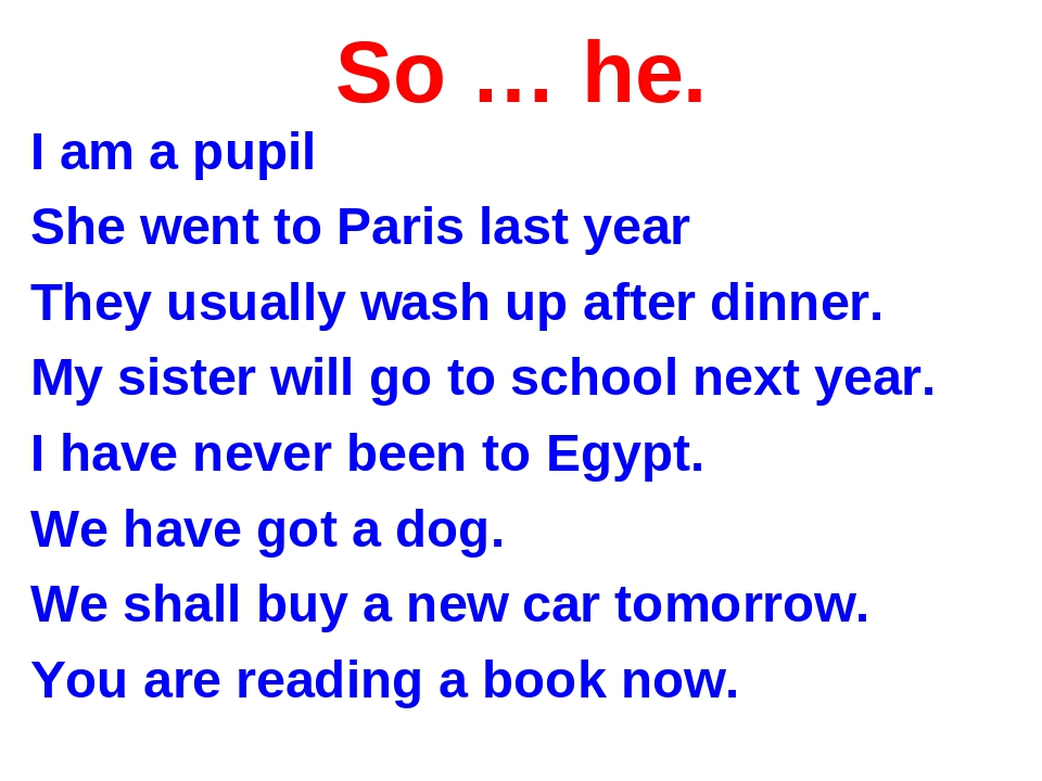 So … he. I am a pupil She went to Paris last year They usually wash up after...