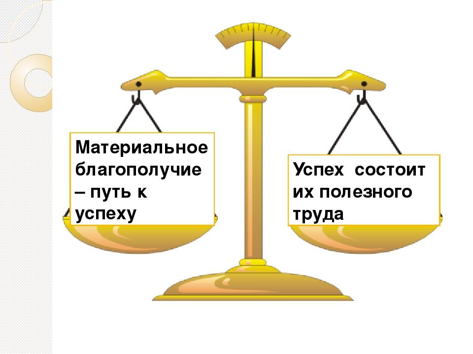 Материальное благополучие – путь к успеху Успех состоит их полезного труда