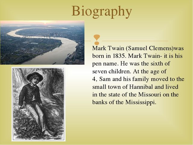 a biography of samuel clemens mark twain an american author Mark twain (pseudonym of samuel langhorne clemens, 1835-1910) was born in florida, missouri, of a virginian family huckleberry finn (1884), an american odysseus, was first considered adult fiction huck, who could not possibly write a story, tells us the story: you don't know about me without.