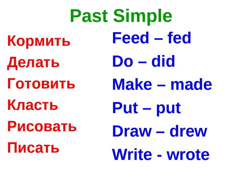 Past Simple Кормить Делать Готовить Класть Рисовать Писать Feed – fed Do – di...