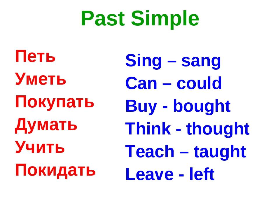 Past Simple Петь Уметь Покупать Думать Учить Покидать Sing – sang Can – could...
