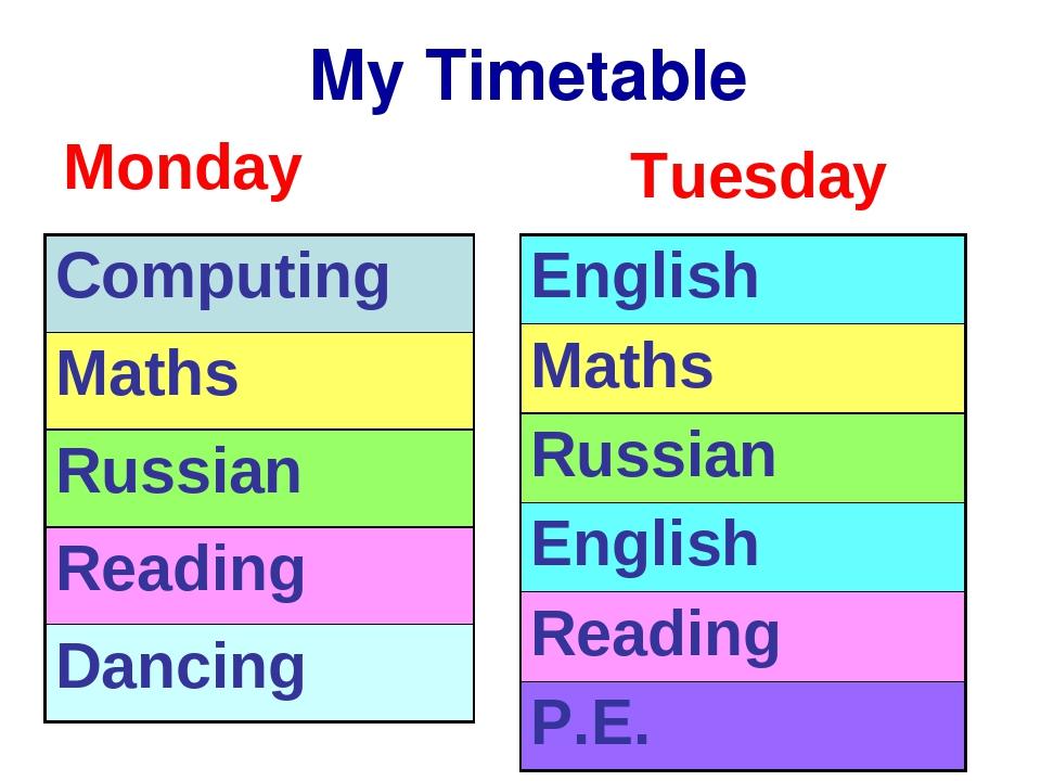 My Timetable Monday Tuesday Computing Maths Russian Reading Dancing English...