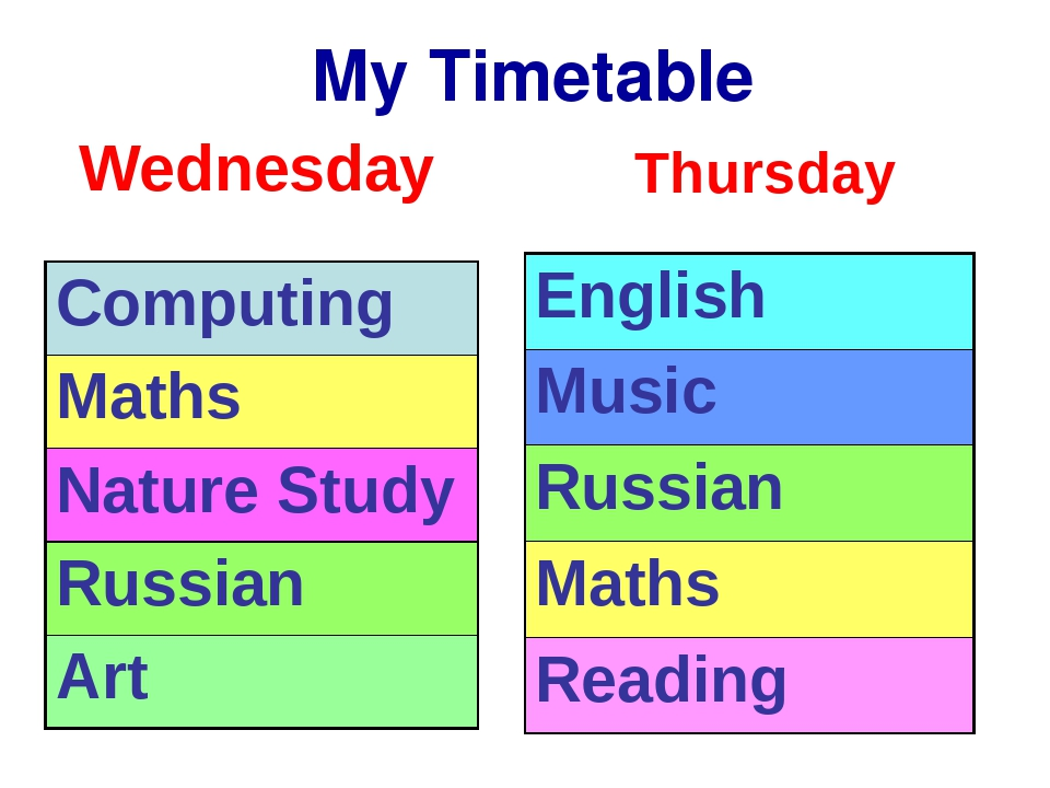 My Timetable Wednesday Thursday Computing Maths Nature Study Russian Art Eng...