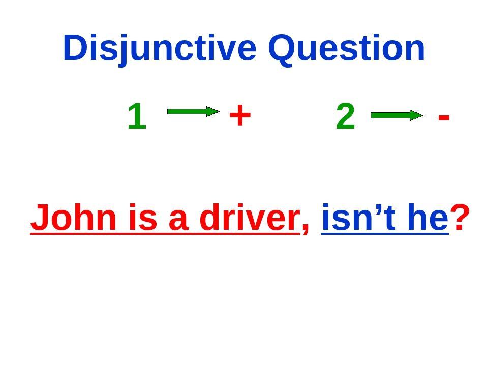 Disjunctive Question 1 + 2 - John is a driver, isn't he?