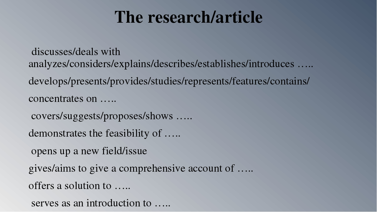 The research/article discusses/deals with analyzes/considers/explains/describ...
